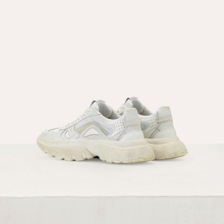 W20 city sneakers in distressed leather : Sneakers color White