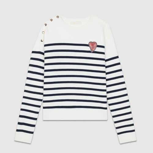 Pull esprit marinière en coton : Maille couleur BICOLORE