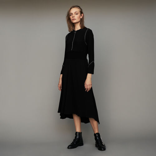 Long sleeve, studded dress : Dresses color Black 210