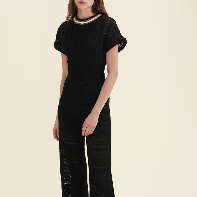 Combi-pantalon en maille fine : Pantalons & Jeans couleur Black