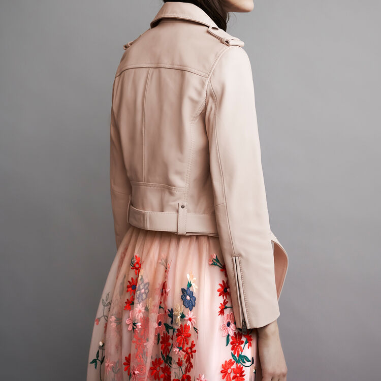 Blouson en cuir avec ceinture : Blousons couleur NUDE