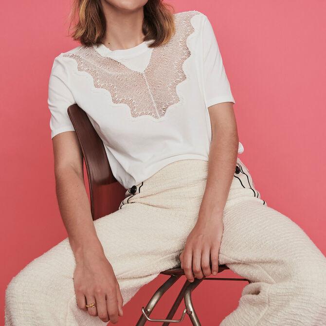 Tee-shirt à incrustations de dentelle - Voir tout - MAJE