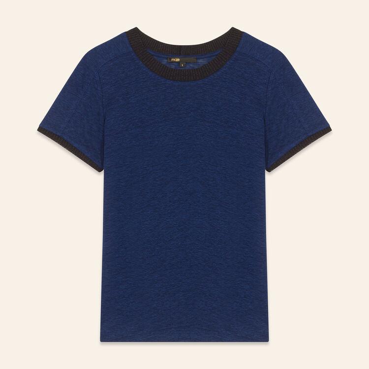 Tee-shirt en lin : T-shirts couleur Marine