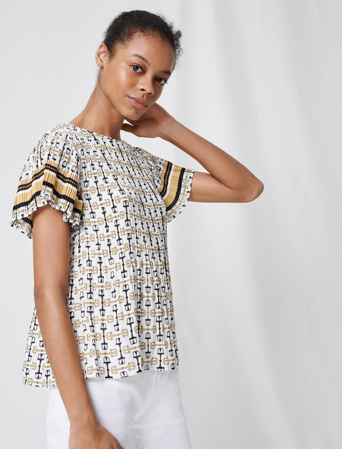 Pleated tunic with preppy print - Tops & Shirts - MAJE