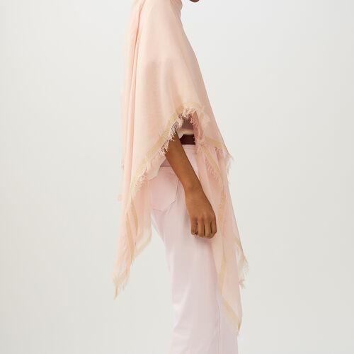 Poncho avec bandes en Lurex : Accessoires couleur Rose