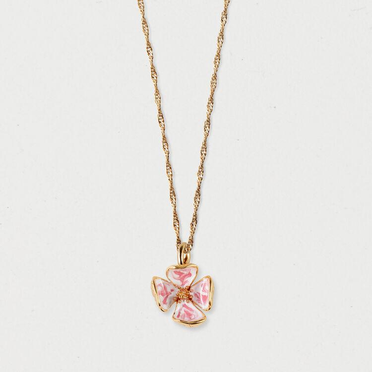 Collier fleur rose : Bijoux couleur OR