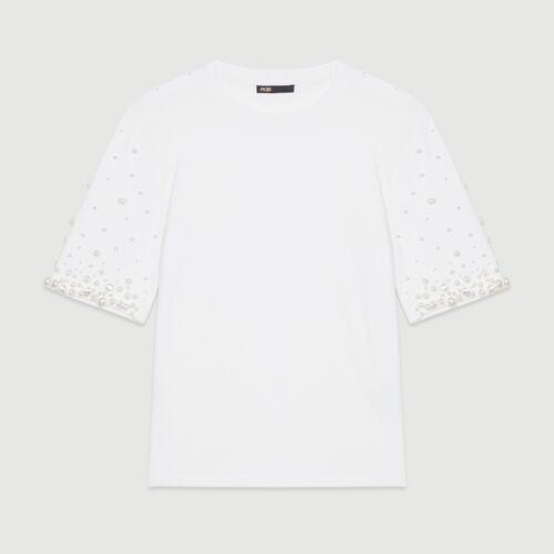 Tee-shirt en coton avec perles : T-Shirts couleur BLANC