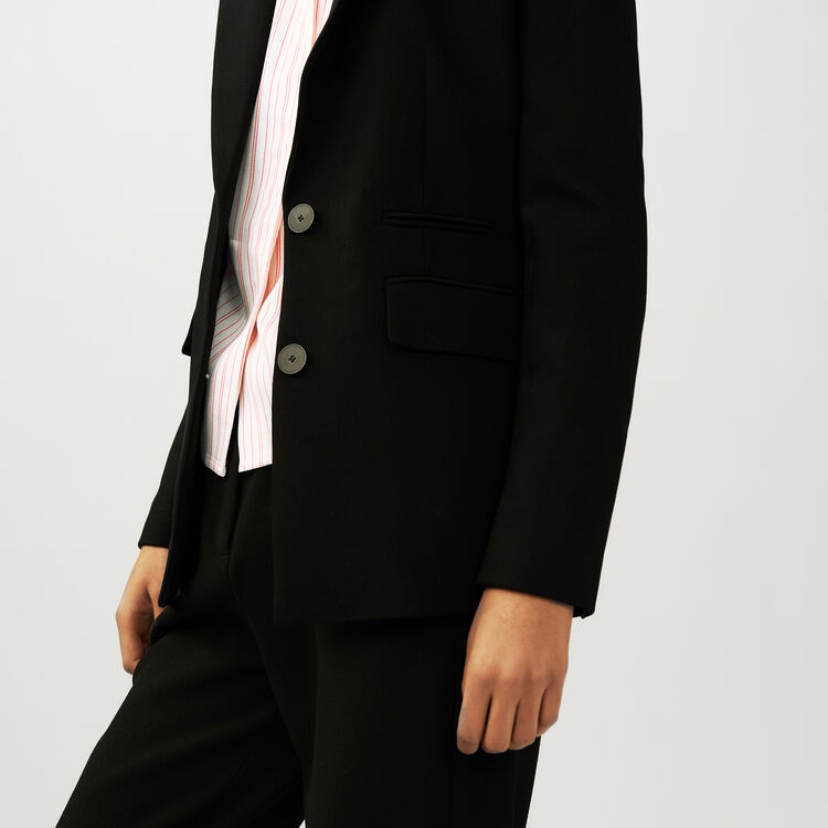 Veste de tailleur en crêpe : Vestes couleur Black