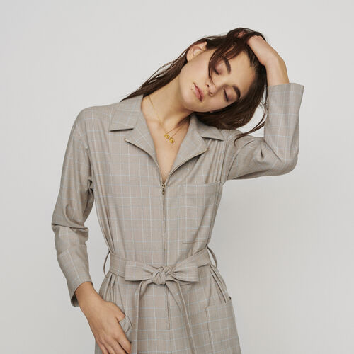 Belted checked jumpsuit : Trousers color CARREAUX