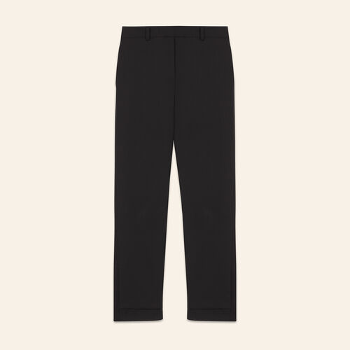 7/8 length crêpe trousers  : Trousers & Jeans color Black 210