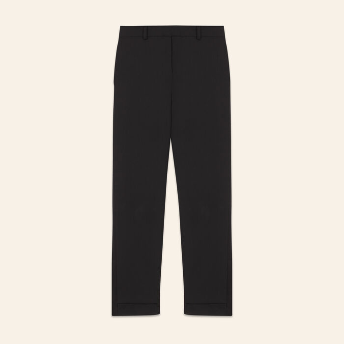 Pantalon 7/8 en crêpe : Pantalons & Jeans couleur Black