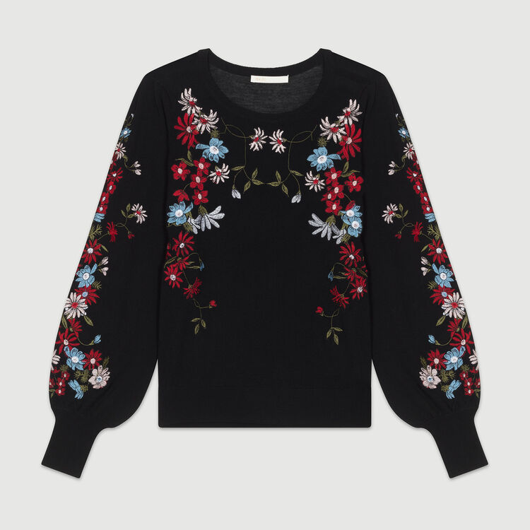 Pull fin avec broderies : Maille couleur Black