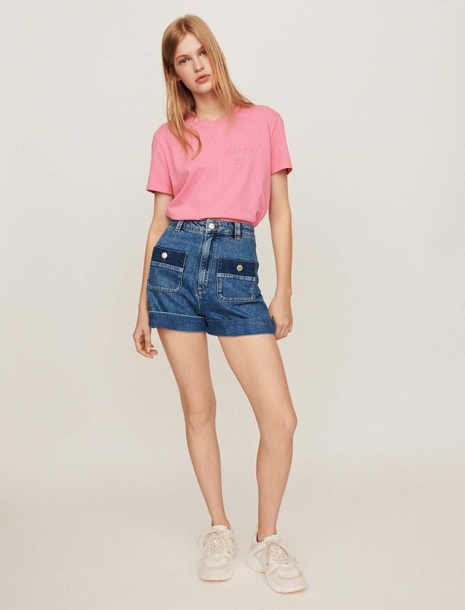 Wide jean shorts with pockets -  - MAJE