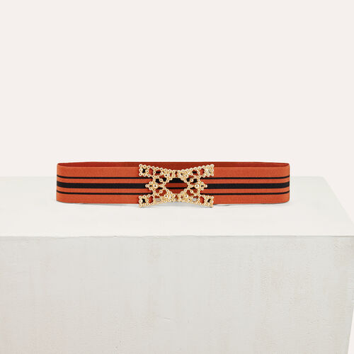 Wide elasticated belt with stripes : Accessories color Brick