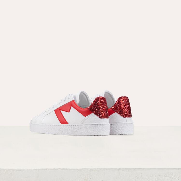 Baskets en toile et paillettes : Sneakers couleur Blanc