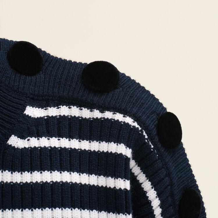 Marinière avec boutons en velours : Pulls & Cardigans couleur Marine