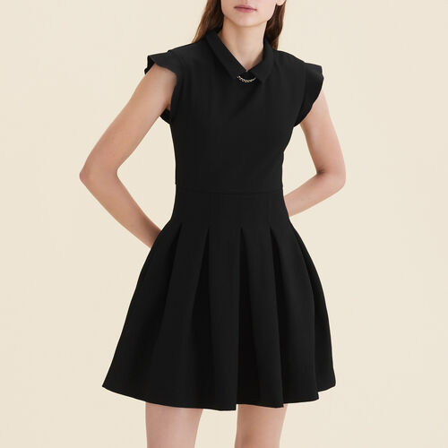 Pleated crêpe dress : Dresses color Black 210