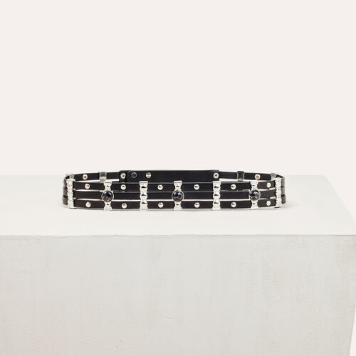 Leather belt with stones : See all color Black 210