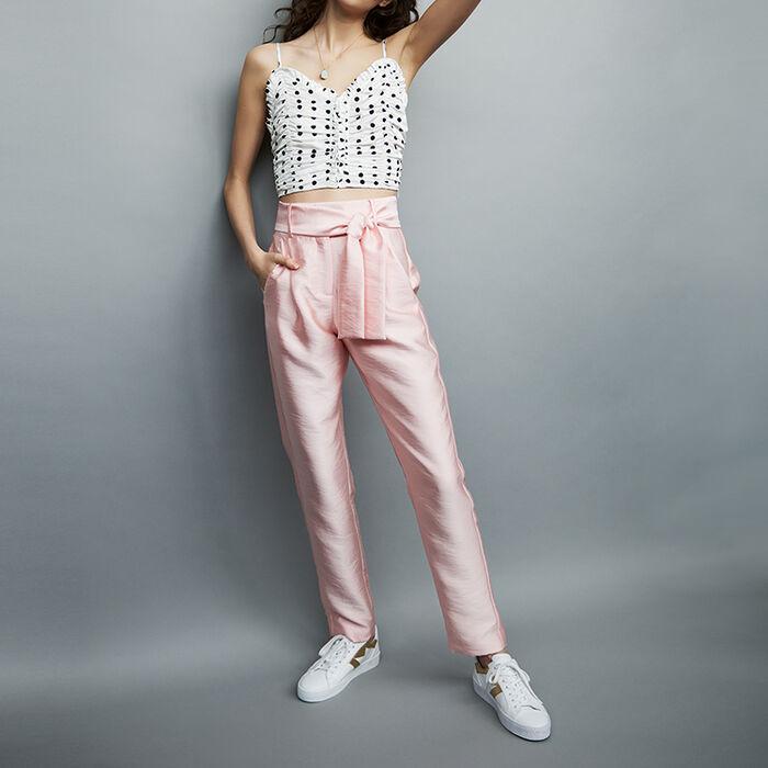 Pantalon à pinces ceinturé : Pantalons couleur Rose
