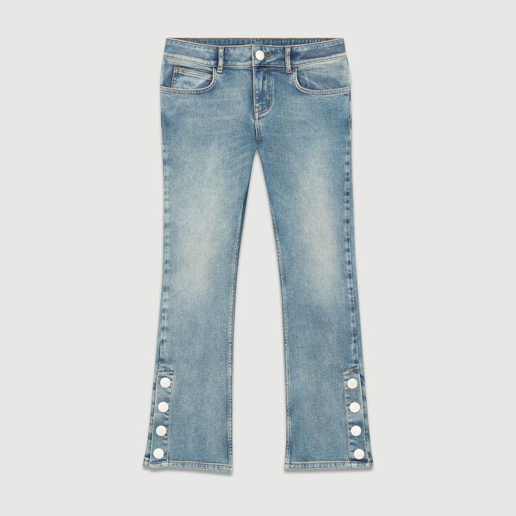 Jean évasé 7/8 avec pression : Jeans couleur Denim