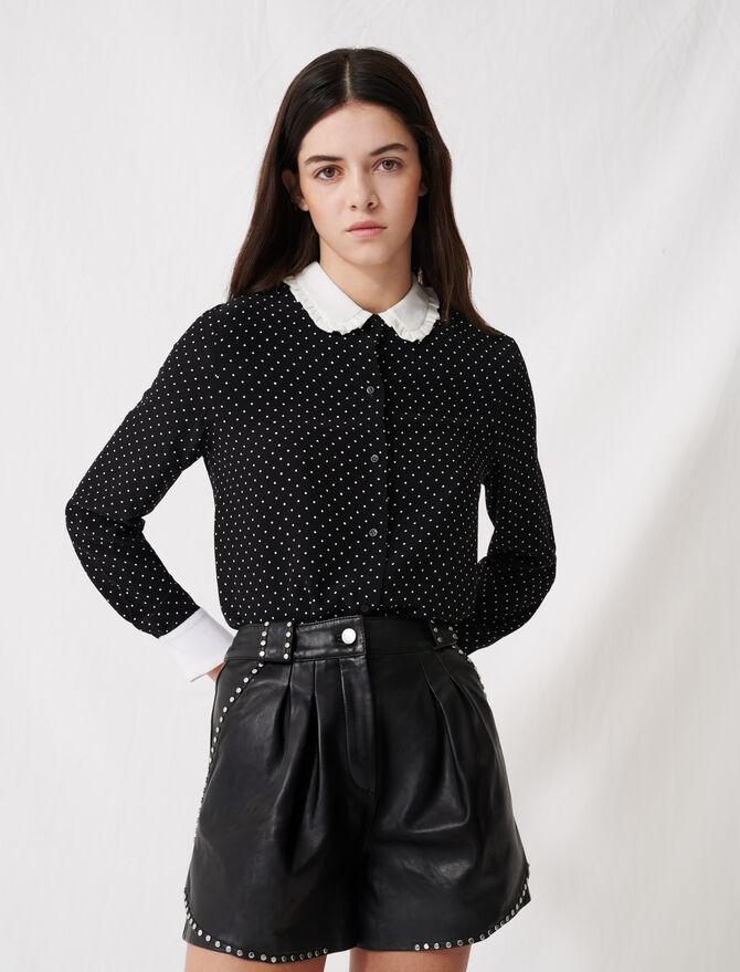 Polka dot shirt with contrasting collar - Tops & Shirts - MAJE