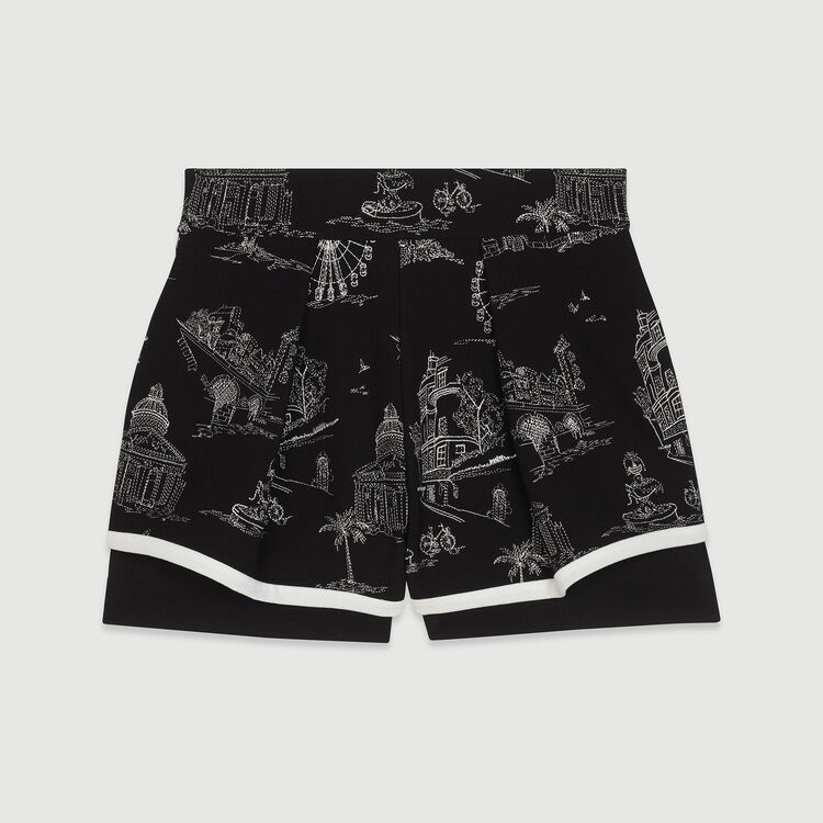 Short en crêpe brodé : Jupes & Shorts couleur Black