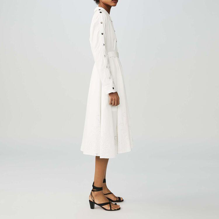 Robe-chemise longue avec broderie : Robes couleur Blanc