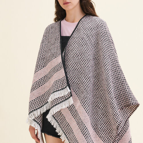 Decorative two-tone knit poncho : Accessories color Pink