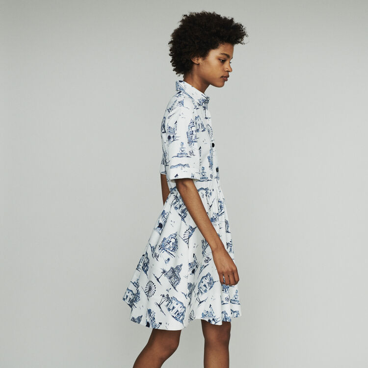 Cropped dress with shirt collar : Dresses color Ecru