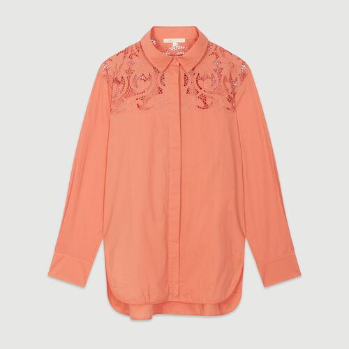 Chemise avec guipure : Chemises couleur CORAIL