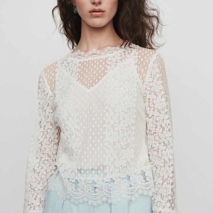 Top en guipure : Tops & Chemises couleur BLANC