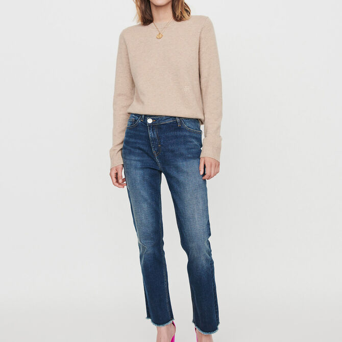 Patched jeans with offset belt - staff private sale 20 - MAJE
