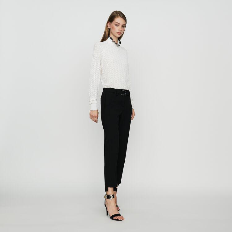 Pantalon droit en crêpe : Prêt-à-porter couleur Black