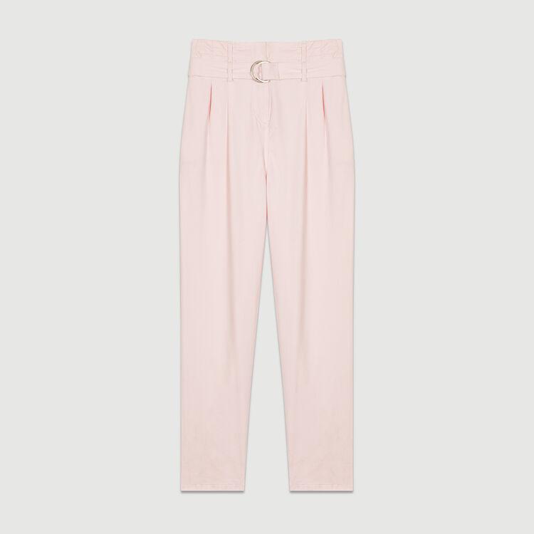 Pantalon carotte avec ceinture : Pantalons couleur Rose Pale