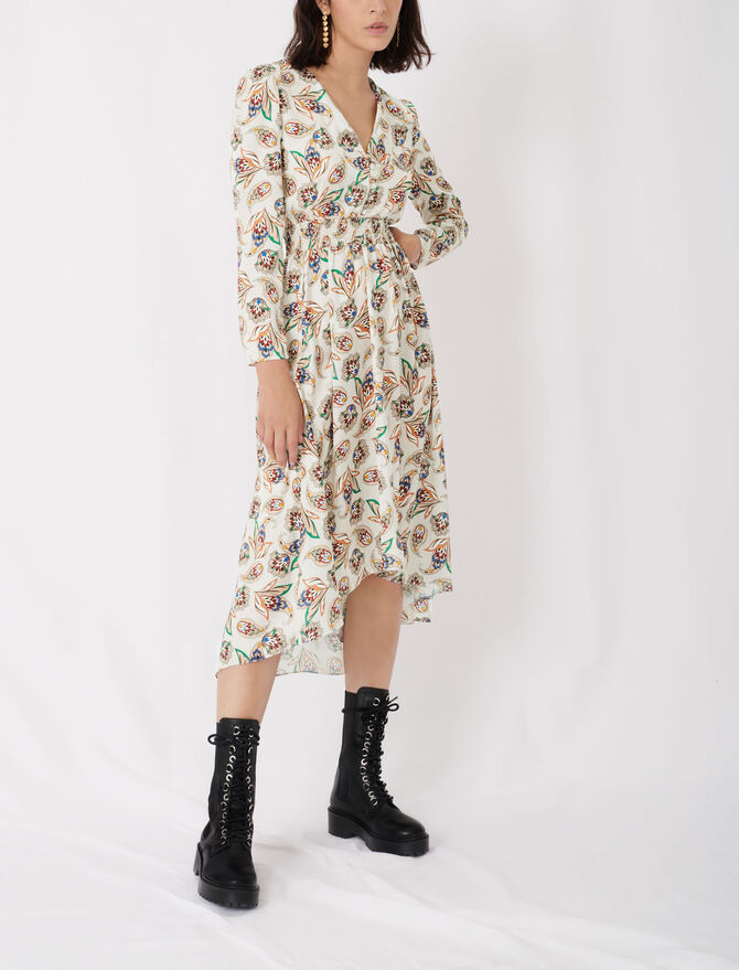 Printed satin dress with smocking - New collection - MAJE