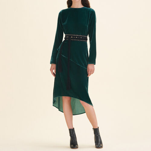 Long velvet dress : Dresses color GREEN
