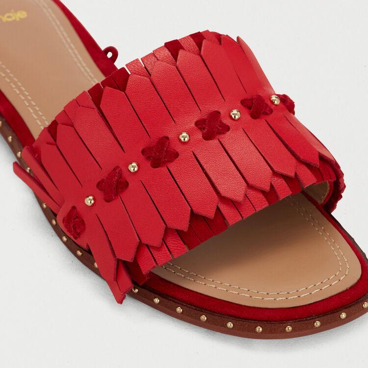 Sandales plates à liens et franges : Chaussures plates couleur Rouge