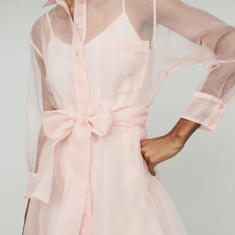 Robe-chemise en organza : Robes couleur Rose Pale