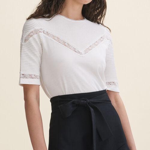 Tee-shirt avec détails en dentelle : T-shirts couleur Black