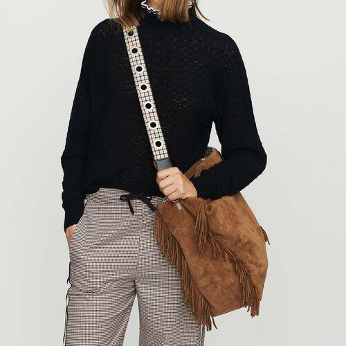 Bandoulière en cuir textile jacquard : See all couleur Beige