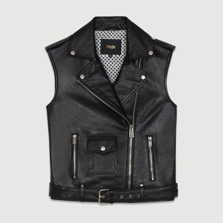Blouson sans manches en cuir : Blousons couleur Black