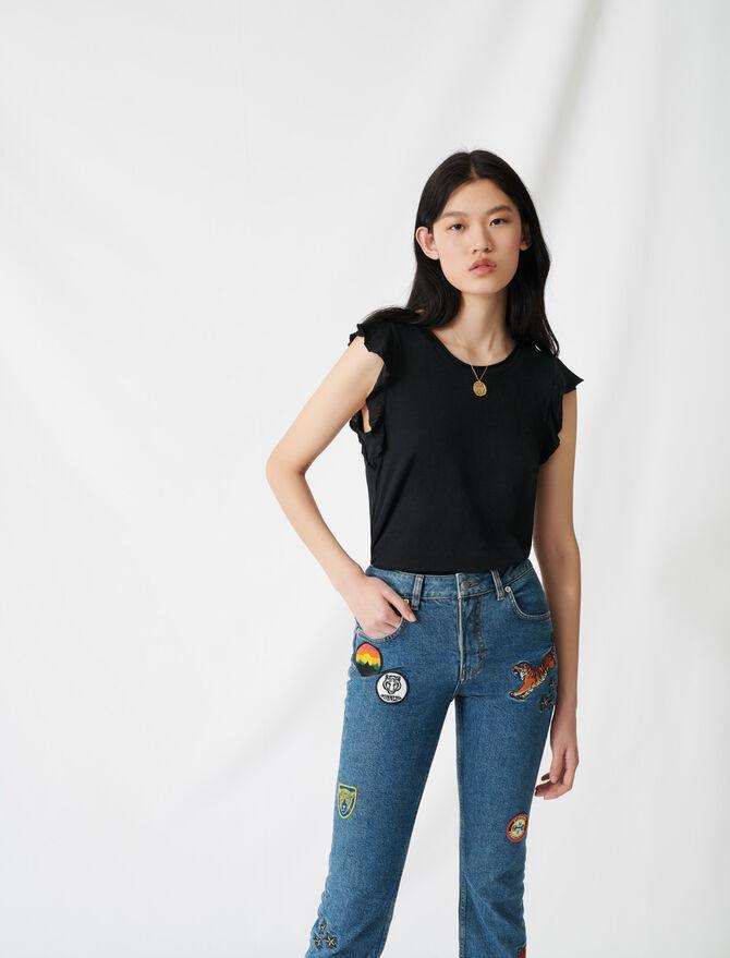 T-shirt sans manche à volants en jersey - -20% - MAJE