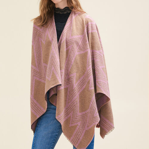 Poncho with M print : Accessories color Pale Pink
