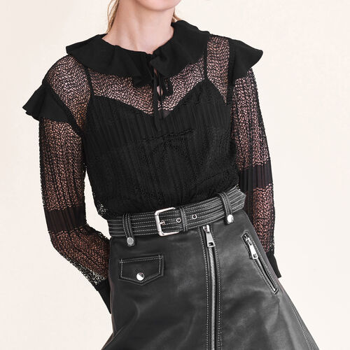 Openwork knit top : Shop by color Black 210
