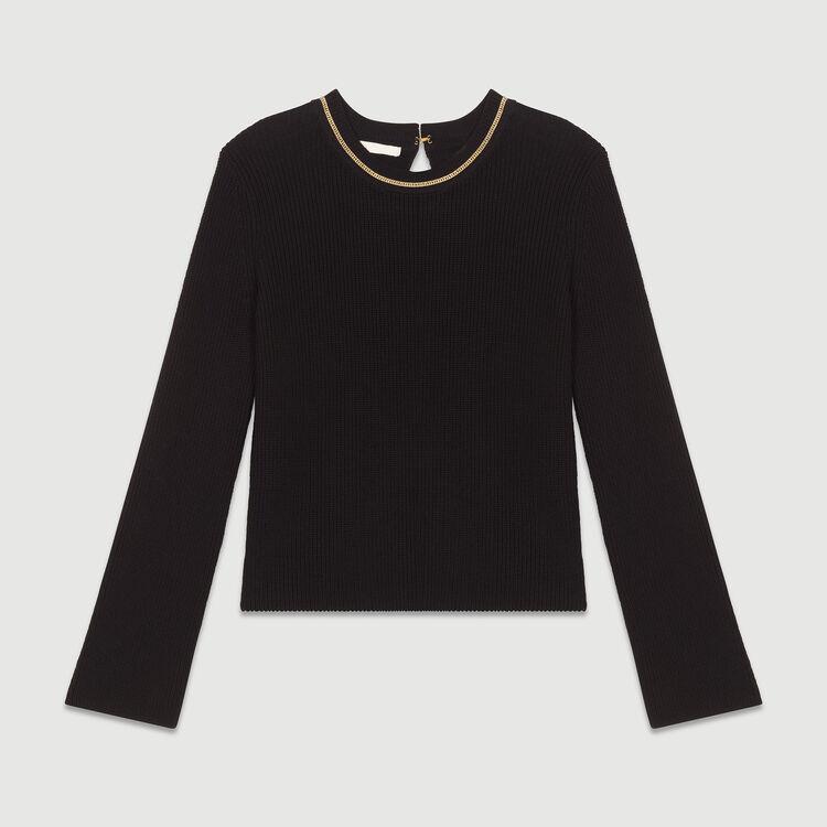 Pull fin en coton : Maille couleur Black