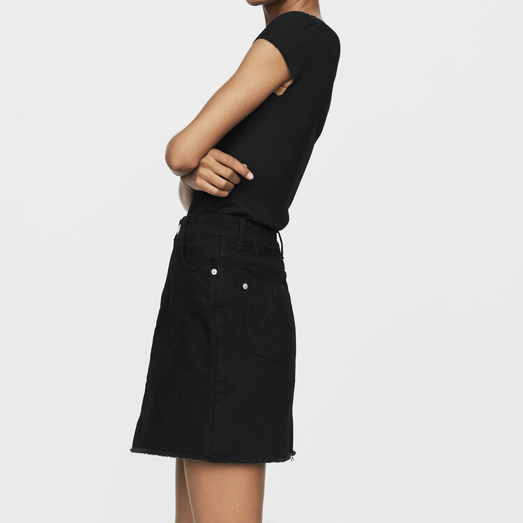 Jupe courte en jean : Prêt-à-porter couleur Black