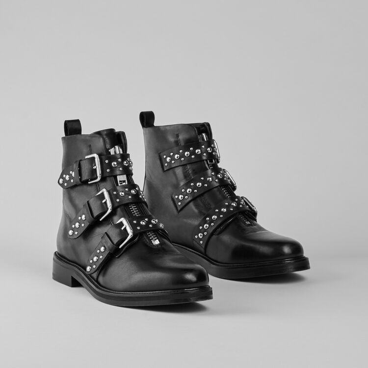 Flat leather studded booties : Booties & Boots color Black