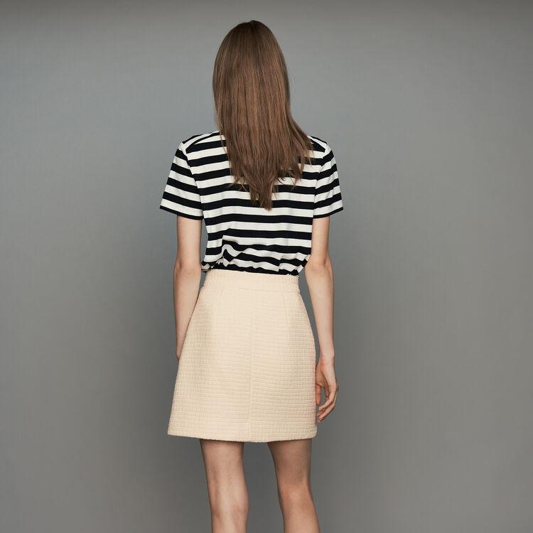 Pull esprit marinière en coton : Jupes & Shorts couleur ECRU