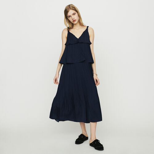 Long satin pleated dress : New in : Summer Collection color Navy