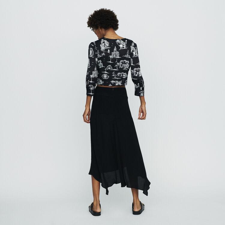 Jupe longue asymétrique : Jupes & Shorts couleur Black